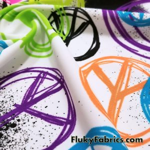 Fluorescent Spray Paint Peace Signs Nylon Spandex