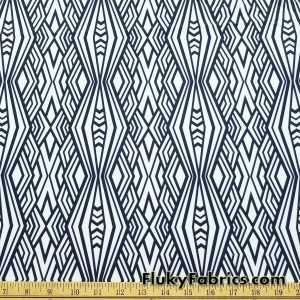 Navy and White Abstract Diamonds Print Nylon Spandex