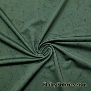 Night Sky on Olive Swimwear Nylon Spandex  Fabric