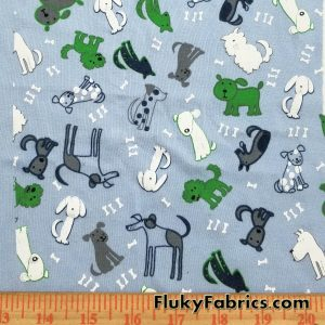 Doggies on Blue Cotton Rib