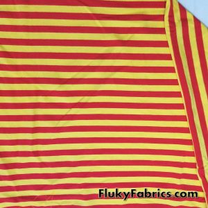 Yellow and Red Yarn Dyed Stripe Cotton Lycra