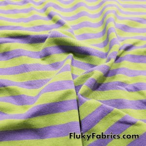 Green and Purple Stripe Yarn Dyed Cotton Lycra