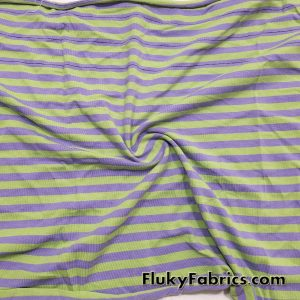 Green and Purple Stripe Yarn Dyed Cotton Lycra  Fabric