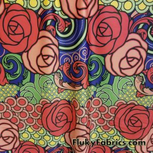 Beautiful Abstract Flowers and Circles Nylon Spandex