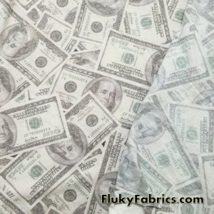 Faded 100 dollar Bills Print Cotton Jersey