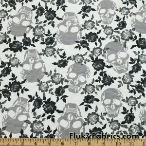 Skulls and Roses Cotton Jersey Print