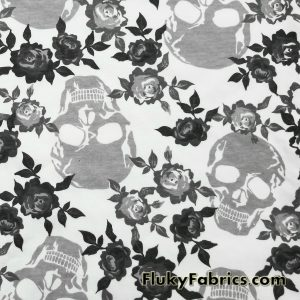 Skulls and Roses Cotton Jersey Print  Fabric