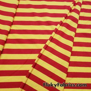 """7/8"""" Yellow and Red Yarn Dyed Stripe Cotton Lycra  Fabric"""