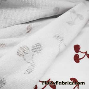 French Terry 100% Cotton with Distressed Dark Red Cherries Print