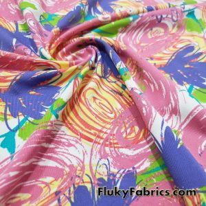 Colorful Doodles Print 4 Way Stretch Single Spandex  Fabric