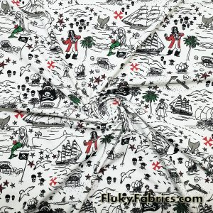 Pirates, Sirens, Whales and Ships Treasure Map Print Single Spandex  Fabric
