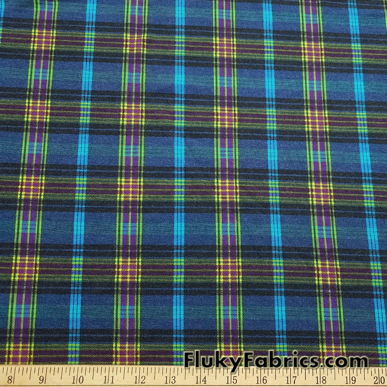 1c46ea5e2c2 Lightweight Brushed Plaid Rayon Spandex Jersey Fabric | FlukyFabrics.com