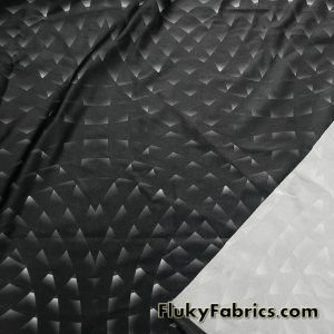 Abstract Geometry Circles on Black Shiny 4 Way Nylon Spandex  Fabric