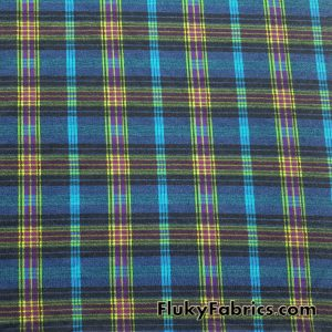 Lightweight Brushed Plaid Rayon Spandex Jersey  Fabric