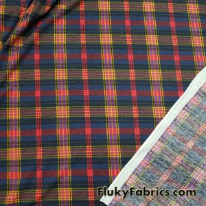 Plaid Lightweight Brushed Rayon Spandex Jersey  Fabric