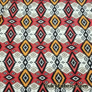 Ethnic Tribal Lightweight Rayon Spandex Jersey  Fabric