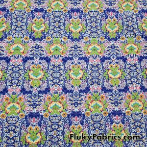 Lotus Abstract Flowers Print Nylon Spandex