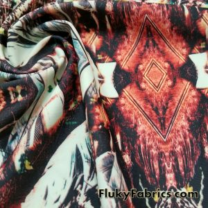Fractal Feathers Print Nylon Spandex  Fabric
