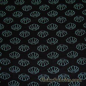 Mint Seashells Rayon Spandex Jersey