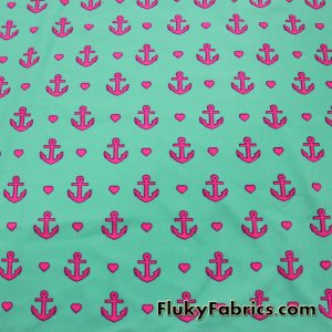 Hot Pink Anchors and Hearts Swimsuit Nylon Spandex