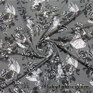 Princesses and Roses on Gray French Terry  Fabric