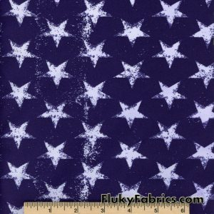 Distressed Stars on Navy Nylon Spandex