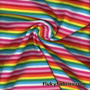 Pastel Rainbow Stripe Cotton Rib Lycra