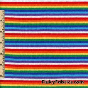 Rainbow Mini Stripes Cotton Rib Lycra