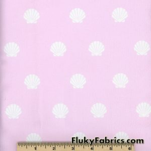 White Shells on Light Pink Swimsuit Nylon Spandex