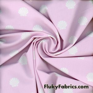 White Shells on Light Pink Swimsuit Nylon Spandex  Fabric