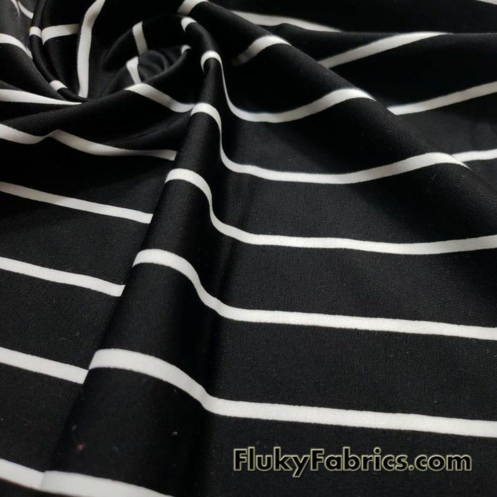 Black Stripes and Off White Mini Stripes Nylon Spandex Bikini Fabric  Fabric