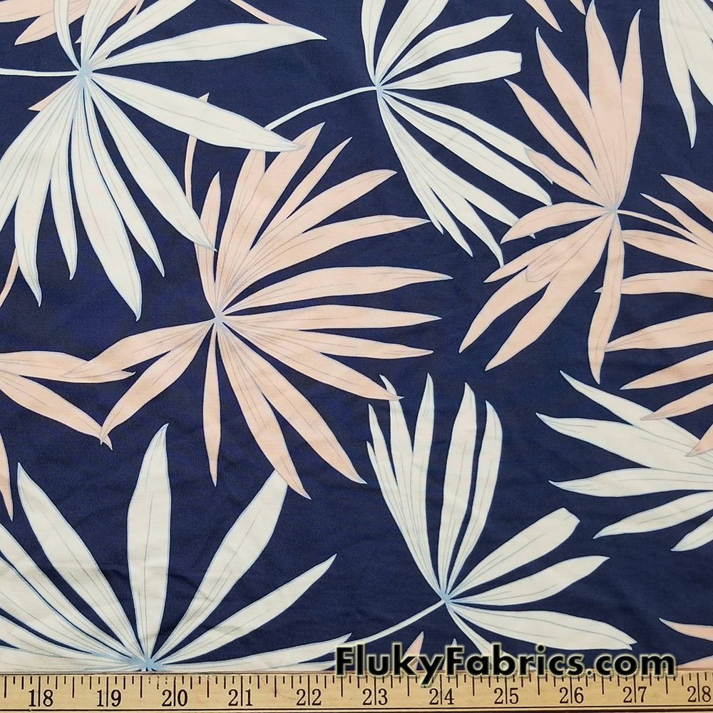 Big Cream and Peach Palm Leaves Print Swimsuit Nylon Spandex Fabric  Fabric