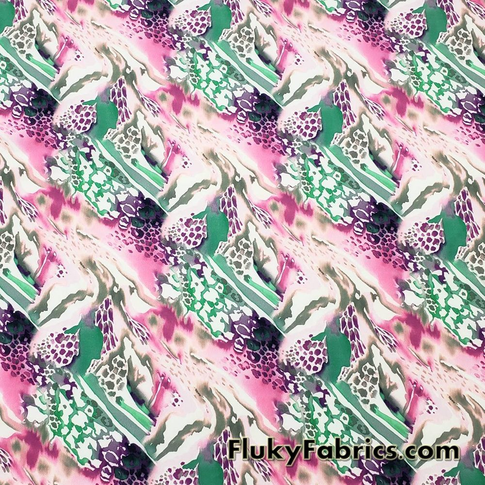 Fantastical Abstract Animal Print Nylon Spandex Fabric  Fabric