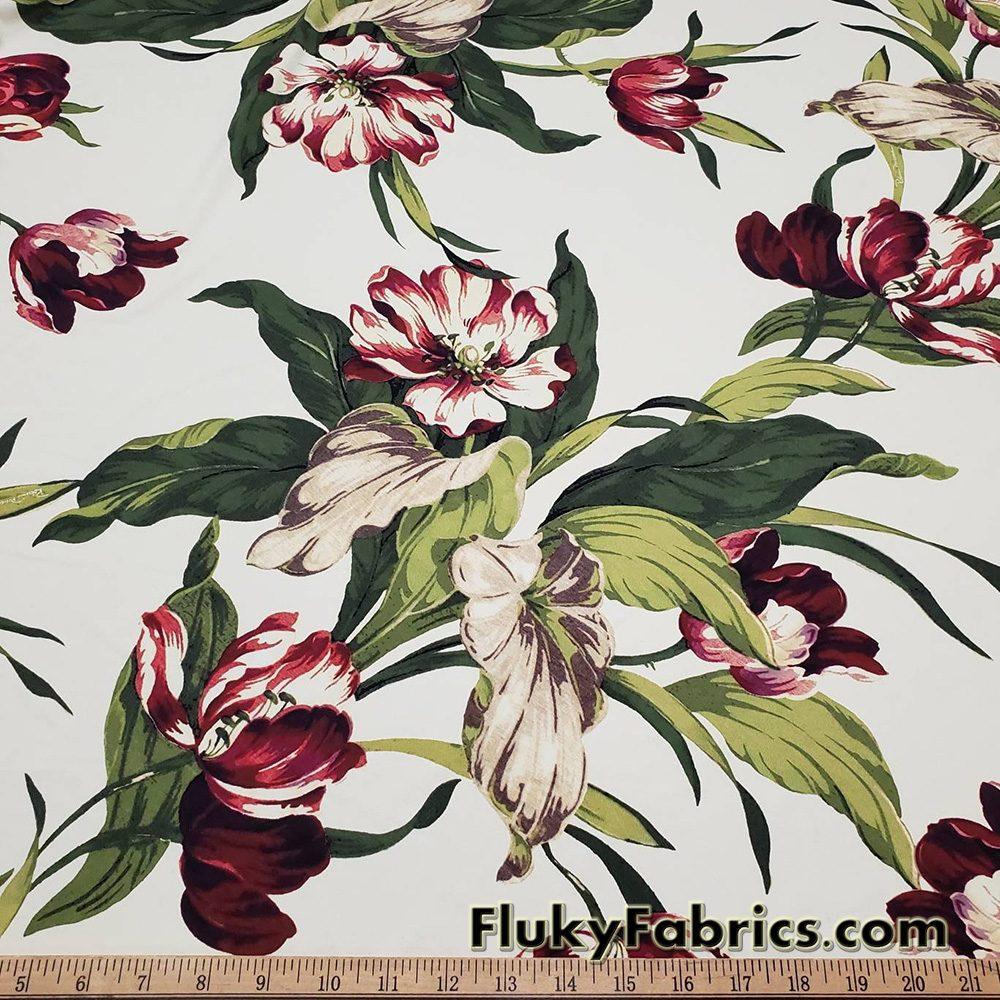 Jumbo Flowers on Ivory Swimsuit Nylon Spandex Fabric  Fabric