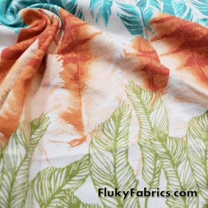 Colorful Feathers and Leaves Sketches on White Cotton Jersey Fabric