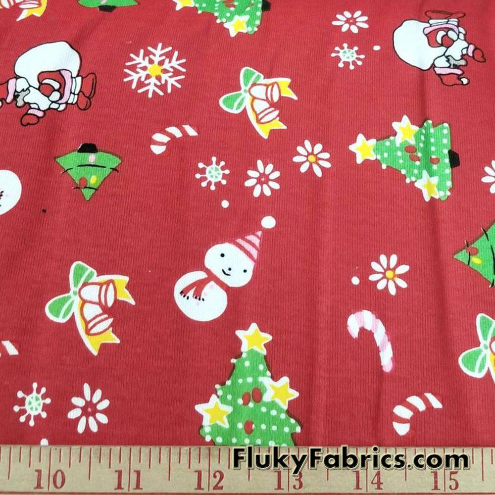 Christmas Print on Red Background Cotton Rib Fabric  Fabric