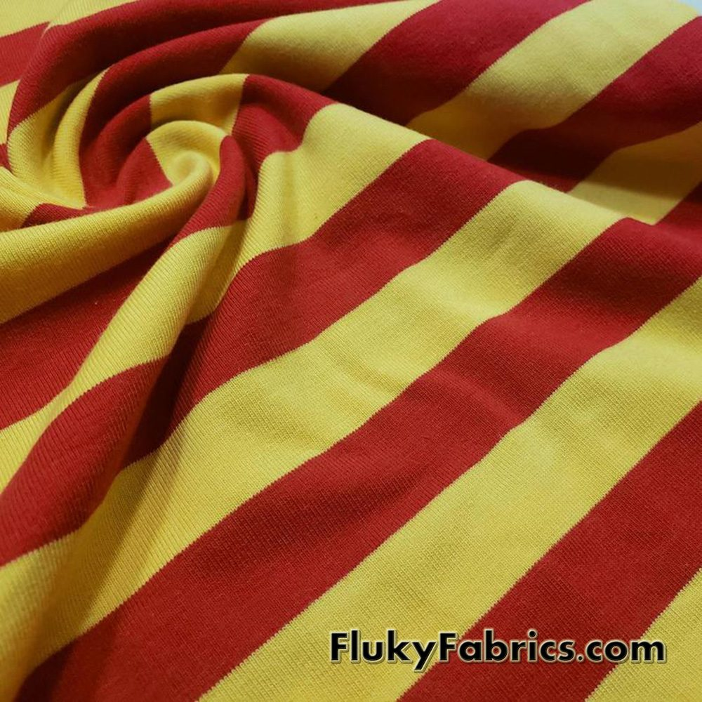 "7/8"" Yellow and Red Yarn Dyed Stripe Cotton Lycra  Fabric"