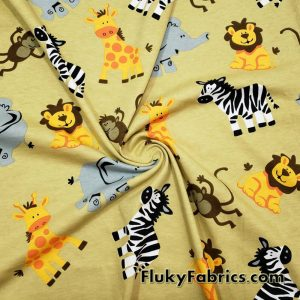 Cute Jungle Zoo Colorful Cartoon Animals Cotton Jersey Fabric