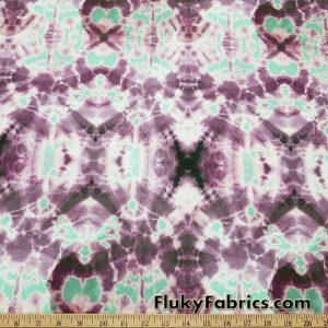 Shades of Purple, Green and Black Inkblot Design Swimwear Nylon Spandex Fabric