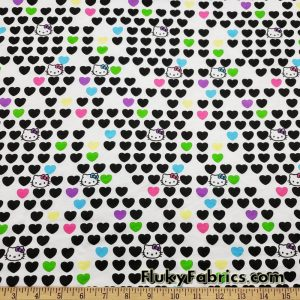 Famous Cute Kitten Faces and Hearts Poly Cotton Jersey Fabric