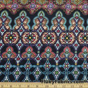 Intricate Medallions Print Brushed Nylon Spandex Fabric