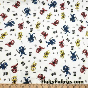 Cute Ninjas Interlock Fabric Great for Pajamas and Baby Apparel