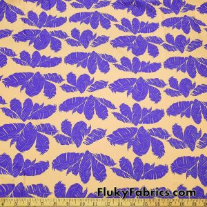 Purple Feathery Leaves on a Peach Background Nylon Spandex Fabric