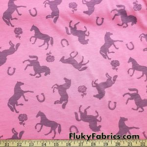Horses and Roses Print on Pink Cotton Jersey Fabric