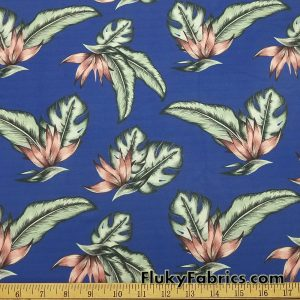 Tropical Leaves on Royal Blue Nylon Spandex Swimsuit Bikini Swimwear Fabric