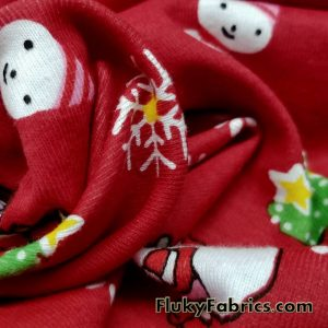 Christmas Print on Red Background Cotton Rib Fabric