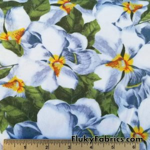 Big White Blueish Flowers and Leaves Print Cotton Lycra Fabric