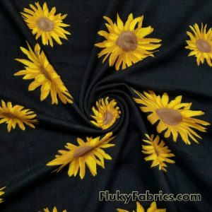 Yellow Daisies on Black Cotton Lycra Fabric