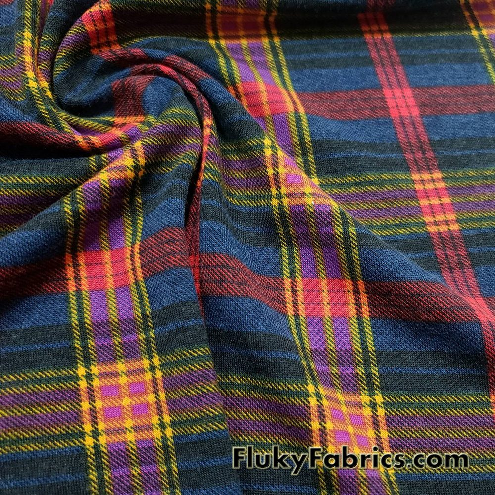 Plaid Lightweight Brushed Rayon Spandex Jersey Fabric in Autumn Colors  Fabric