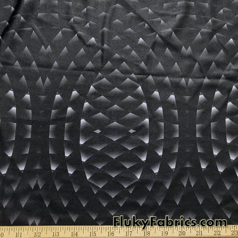 Abstract Geometry Circles on  Black Shiny Swimsuit Nylon Spandex Fabric  Fabric